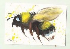 ACEO Bumble bee   Original watercolour painting Casimira Mostyn
