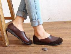 Coffee Handmade ShoesOxford Women Shoes Flat Shoes Retro by HerHis