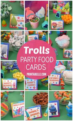 Trolls Party Food Card Set with lots of cards and a sign!