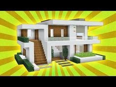 Minecraft: How to build a Large Modern house tutorial! - Minecraft World 2020 Modern Minecraft Houses, Minecraft House Plans, Minecraft Farm, Minecraft Mansion, Minecraft House Tutorials, Minecraft Houses Blueprints, Minecraft House Designs, Minecraft Bedroom, Minecraft Crafts