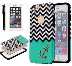 """iPhone 6 Plus Case KINGCOOL(TM) Dual Layer Chevron Waves with Anchor Pattern Design Hybrid Armor Defender Case Combo for Apple iPhone 6 5.5"""" Designed specially for Apple iPhone 6 plus 5.5"""" Fashionable bling design makes your phone stand out! Premium coating for a soft feeling texture Provides great protection with easy installation Access to all controls, buttons and camera holes"""