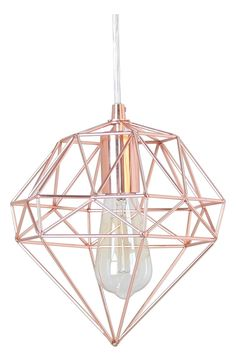 A faceted, gemlike wire cage in a shining rose-goldtone finish makes a strikingly modern hanging lamp. Style Name:Crystal Art Gallery Metallic Hanging Lamp. Rose Gold Room Decor, Rose Gold Rooms, Rose Gold Bedroom Accessories, Room Decor Bedroom Rose Gold, Bedroom Light Shades, Hanging Light In Bedroom, Lampe Rose, Luminaria Diy, Rose Gold Lights