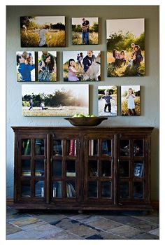 Wall between the closet door & hallway door in living room. Love it! Family photo collage idea.... Basement family room perhaps.