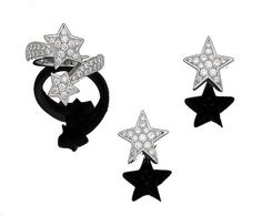A diamond-set 'Comète' ring, by Chanel, and pair of diamond-set star earrings (2)
