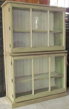 Trash to treasure....2 old windows + 2 old drawers + hinges = new cabinet