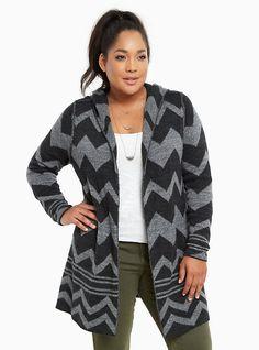 $52 Size 3 - Plus Size Chevron Hooded Sweater Coat, CHEVRON