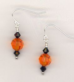 Fall Fun Fest ~ Swarovski Crystal  Sterling Silver Earrings