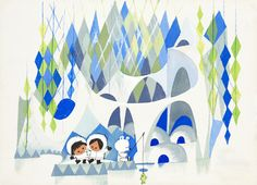 Concept Art for It´s a small world attraction by Mary Blair. Vintage children's illustration Mary Blair, Joey Chou, Polo Norte, Disney Artists, Disney Concept Art, Disney Kunst, Small World, Disney Parks, Disney Rides