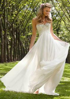 2014 Sheath/Column Chiffon Sweetheart Ruched Wedding Dresses CHWD-30151 - pretty but would like straps