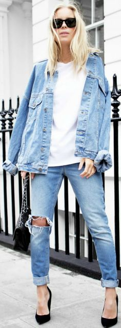 Victoria Tornegren + classic double denim look + rolled denim jeans+ white tee + matching jacket   T-shirt/Jacket/Shoes: Asos, Jeans: Won Hundred.