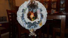 Diaper wreath--blue and brown monkey theme