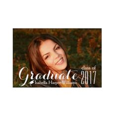 Modern Class of 2017 Graduation Photo Double-sided Lawn Sign