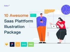 Sokor: SaaS Platform Illustration Pack — Illustrations on UI8 Branding Design, Logo Design, Competitor Analysis, Presentation Slides, Mobile Application, Saving Money, How To Become, Packing, Illustrations
