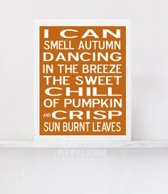 Thanksgiving Decor, Fall Decor Wall Art Print - Modern Burnt Orange Subway Art - Autumn Decor - Fall Poster Typography on Etsy, $18.00