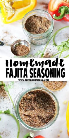 This homemade fajita seasoning mix recipe is perfect for marinading chicken or steak, making a dip, or seasoning veggies. It is also paleo and compliant AND so good you are sure to be hook… (Chicken Fajitas Whole Fajita Seasoning Mix, Homemade Fajita Seasoning, Fajita Recipe, Fajita Mix, Chicken Seasoning, Low Carb Diets, Homemade Spices, Homemade Seasonings, Paleo Recipes