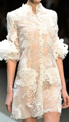 Christophe Josse Spring 2010 | details | white lace blouse dress