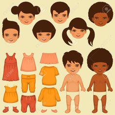 Vector Kids Face, Paper Doll, Isolated Clothing Fashion Icons Royalty Free Cliparts, Vectors, And Stock Illustration. Image 30768783.