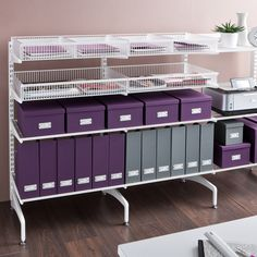 elfa® Office, Classic White, freestanding office workflow solution will help you maximise your office space and efficiency. Available at Howards Storage World. Paper Storage, Fabric Storage, Konmari, Feng Shui, Elfa Shelving, Creative Storage, Storage Ideas, Howard Storage, Home Hacks