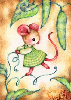 Sweet Pea - cute mouse art by Carmen Medlin
