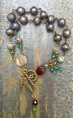 Bronze Teardrop Hoop Earrings Green and Turquoise Rosary Chain Vintage Brass Czech Glass Vintage Beads Long Dangle Statement Earrings