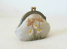 Hand embroidered coin purse embroidered coin pouch by JRsbags