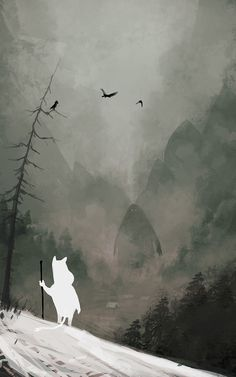 God of Winter by Jakub Rozalski. Moomin and the Groke. What a coincidence, I've just found Jakub's art but I didn't knew he has made Moomin art too. I wrote Moomin comics to Finnish and Estonian Moomin magazine. Tove Jansson, Art And Illustration, Film D'animation, Poster S, Winter Art, Dark Art, Art Inspo, Framed Art Prints, Fantasy Art