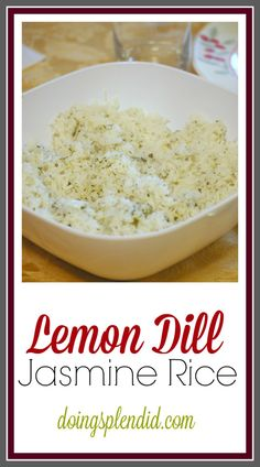 This Lemon Dill Jasmine Rice is so good! Whenever I make this recipe I always double it so that I can make sure to have extras for lunch the next day! Works great with main dishes such as salmon or pork tenderloin. Dill Recipes, Herb Recipes, Side Dish Recipes, Cooking Recipes, Healthy Recipes, Rice Recipes With Herbs, Yummy Recipes, Recipies, Picnic Recipes