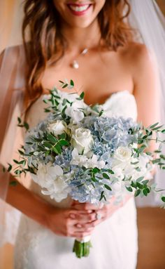 soft dusty blue floral bouquet, romantic bridal bouquets, wedding flower inspiration, neutral elegant wedding color palette