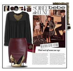 """""""Soirée de Luxe with bebe Holiday: Contest Entry"""" by lily15 ❤ liked on Polyvore featuring Droog, Bebe, Pierre Balmain, Chanel, By Terry, Nails Inc. and OPI"""