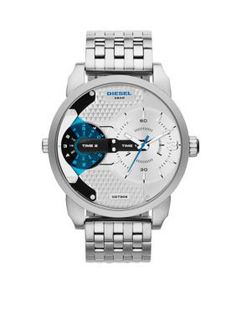 Diesel Watch with a white dial and blue accents offers a classic-yet-edgy update to Mini Daddy. Discover this and other Diesel timeframes at the official Diesel USA online store. Stainless Steel Watch, Stainless Steel Bracelet, Diesel Watches For Men, Mens Designer Watches, Mini, Watch Sale, Watch 2, Quartz Watch, Chronograph
