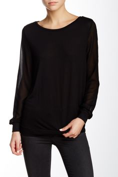 Contrast Sleeve Long Sleeve Tee by Haute Hippie on @nordstrom_rack