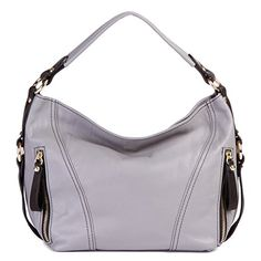 LaGaksta Amy Soft Italian Leather Shoulder Crossbody Hobo HandbagGrey * To view further for this item, visit the image link.Note:It is affiliate link to Amazon.