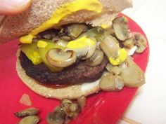 Sauteed onions and mushrooms- quick to do and add so much to your hamburgers! Summer BBQing just got better!