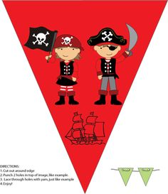Pirate Wall Decor, Pirate, Party Decorations - Free Printable Ideas from Family Shoppingbag.com