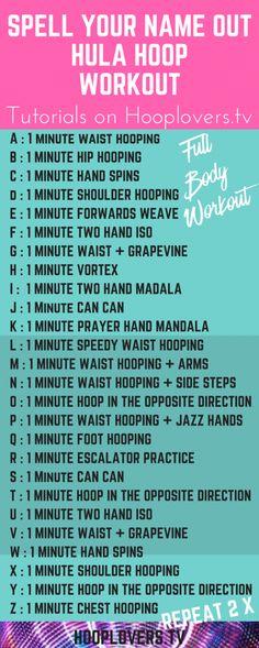 Hula Hoop Workout : Spell Your Name Hula Hoop Workout, Workout Fun, Workout Challenge, Post Workout, Workout Fitness, Fitness Tips, Workout Plans, Health Fitness, Spell Your Name Workout