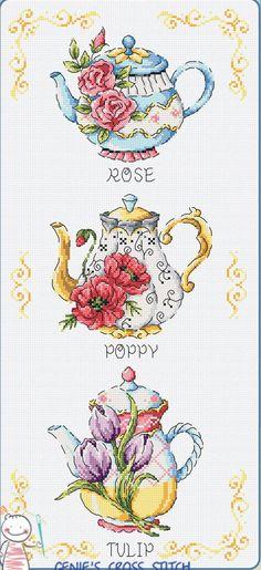 Flower Teapot Cross stitch pattern leaflet. by GeniesCrossstitch