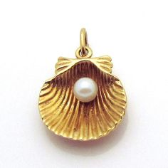Vintage 10K Gold 3D Scallop with Pearl Seashell Charm from charmalier on Ruby Lane