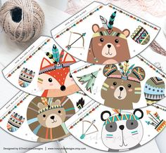 Fall Birthday, Boy Birthday Parties, Gift Wrapping Tutorial, Tribal Animals, Baptism Decorations, Baby Shower Niño, Woodland Party, Wild Ones, Party Printables