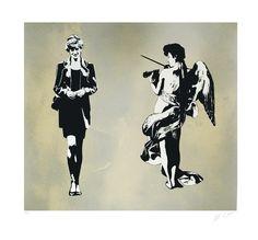 Blek le Rat - Diana and angel - Edition 100 - presented by Ministry of Walls Street Art Gallery - The Urban Art Broker - finest Streetart Stencil Graffiti, Stencil Art, Stencils, Banksy, Blek Le Rat, Angel Artwork, Street Artists, Urban Art, Rats