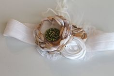 Petite christmas gold and white headband for by verosjoy on Etsy, $14.00