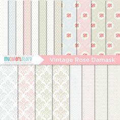 Digital Paper - Vintage Rose Damask - Instant Download on Etsy, $2.99