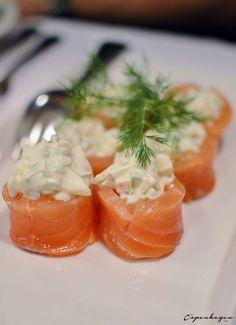 Salmon with celery and apple salad for julefrokost at Restaurant Kronborg, Copenhagen