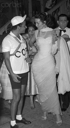 Italian author Pepi Lenzi and Mexican actress Maria Felix, dressed as Italian cyclist Fausto Coppi,were among some 600 international socialites at a party given by New Yorker Earl Blackwell as a highlight of the Venice Film Festival.