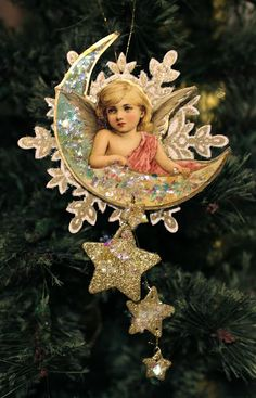 Sunday View: Tag Tuesday: Angels Victorian Christmas Ornaments, Antique Christmas, Christmas Paper, Vintage Ornaments, Christmas Love, Diy Christmas Ornaments, Christmas Angels, Christmas Projects, Handmade Christmas