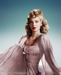 Lana Turner  <3 1940's…..If I could get my hair done like this AND, get it to stay like this for ONE day, I could cross that off my bucket list!