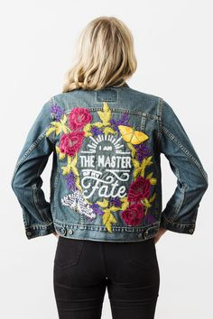 Denim and Bone 'I am the Master of My Fate' embroidered vintage denim jacket