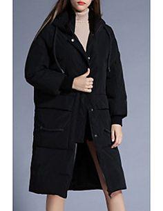 Casual/hétköznapi / Alkalmi Egyszerű Kabát-Női Egyszínű Hosszú Sportos kabátok Poliészter Fehér kacsapehely Kapucni Hosszú ujjPiros / – EUR € 51.93
