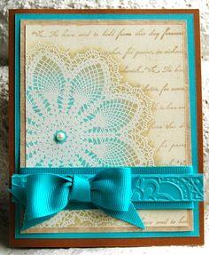 Hello Doily Stampin up hand made wedding invitation