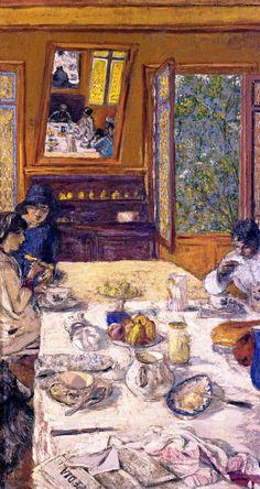 jean-édouard vuillard(1868–1940), annette nathanson, lucy hessel and miche savoir at breakfast, 1913, reworked 1934. distemper on canvas