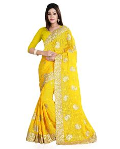 Yellow Georgette Embroidery Work Saree 79382